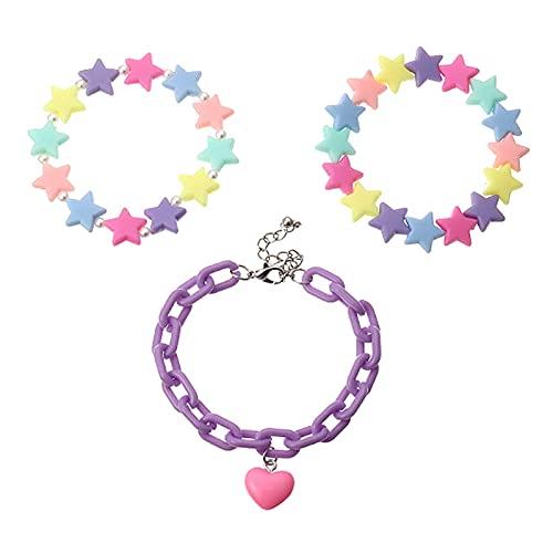 Hellery 1 Juego de Pulseras de Moda acrílico Estrellas Colgante Brazalete para Chicas Adolescentes Ajustable joyería Regalo