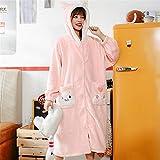 STJDM Pyjama,Bademäntel Hauskleidung Damen edle Pyjamas verdickte Flanell Nachthemden warme...