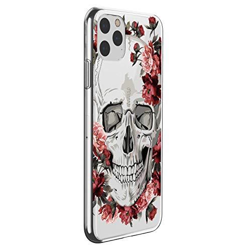 Suhctup Transparente Funda Compatible con iPhone 12 Mini,Carcasa Protectora de TPU Ultradelgada Flor y Calavera Diseño Anti-Choques Resistente Case Cover para iPhone 12 Mini (9)