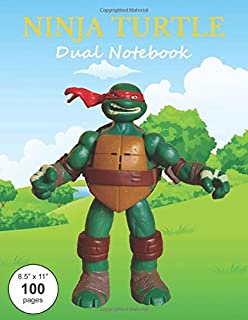 Ninja Turtle Dual Notebook: Alternating lined/ruled and blank pages for journaling, writing, exploring your thoughts and feelings, sketching, drawing, or simply scribbling and doodling.