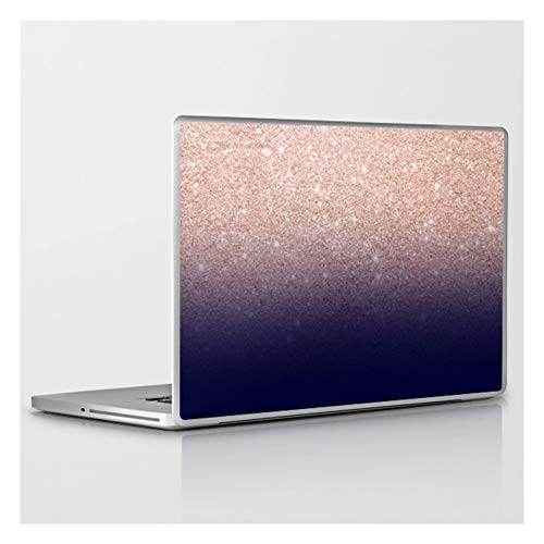 Modern Faux Rose Gold Glitter Ombre Gradient On Navy Blue by Girly Trend by Audrey Chenal on Laptop