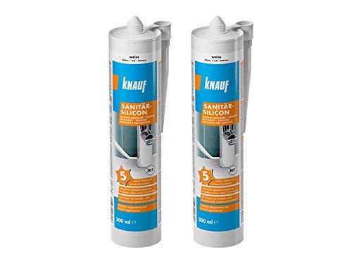 Knauf Sanitär-Silicon Zweierpack, Bad & Dusche – dauerelastischer Silikon-Dichtstoff, schnell vernetzend, Anti-Schimmel, wasserfest, 2 x 300 ml, Weiß