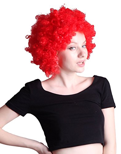 HDE Team Spirit & Halloween Costume Party perruque afro (Rouge)