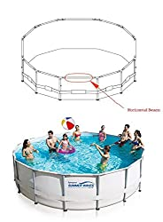 Oval-shaped, Grey metal Horizontal Beams for the following Summer Waves Elite or ProSeries Round Frame Pools Fits elite pools size:12x48, 14x42,15x42, 15x48, 16x42, 16x48, 16x52, 17x48, 17x52, 18x48, 18x52, 20x48, 20x52, 22x52, 24x48, 24x52, 26x52 Th...