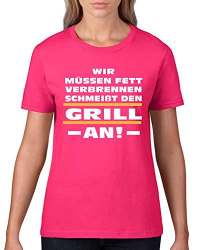 Comedy Shirts - Wir muessen Fett verbrennen. Schmeisst den Grill an! - Damen T-Shirt - Pink/Weiss-Gelb Gr. L