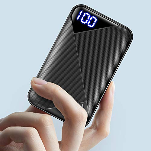 EAFU Portable Charger, LED Display 6000mAh Power Bank with Type C & Micro USB Input, Dual 3A High-Speed Output Battery Pack with Flashlight Compatible with iPhone Xs X 8 Samsung Galaxy S10 iPad etc.