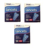 TruePlus Sterile Lancets, 28 Guage, 3 Boxes of 100 (300 Total)...