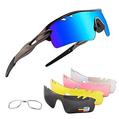 Xiyalai Polarized Sports Sunglasses with 5 Interchangeable Lenses,Mens Womens Cycling Glasses,Baseball Running (Gun/Grey-Blue)