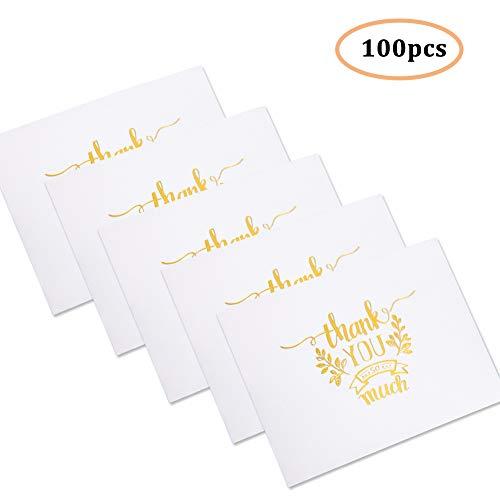 Dankeskarten, 100 Pack Danke Karten Grußkarte Danksagungs Gruß Karten für alle Gelegenheit, Ihre Hochzeit, Staffelung, Babyparty, Brautparty, Jahrestag, Geschäft, 6 x 8 cm