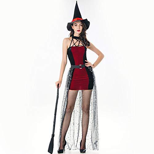 ZSTY Disfraz de Bruja de Halloween, Disfraz de Vampiro Cosplay Femenino, Falda Blanca como la Nieve, Bruja, Bruja, Reina, Disfraz de Mascarada