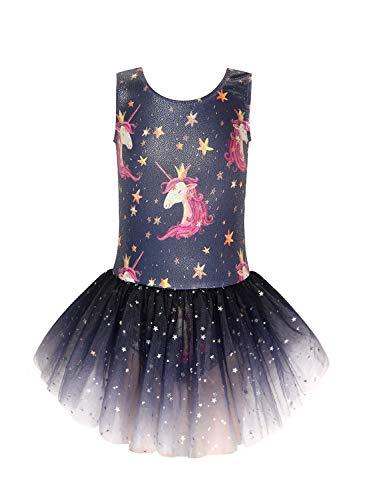 Girls skirted leotards Gymnastics dress for kids ballet dance tulle skirts size 6-7 years old dark blue gradient white crown unicorn print pattern Louisiana