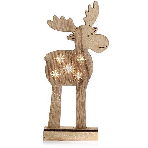 com-four® Renna LED Taglia L, Figura di Renna in Legno con Illuminazione a LED, Bellissima Statua di Alce, Ottima Luce per Natale, Altezza Circa 30 cm [la Selezione Varia]