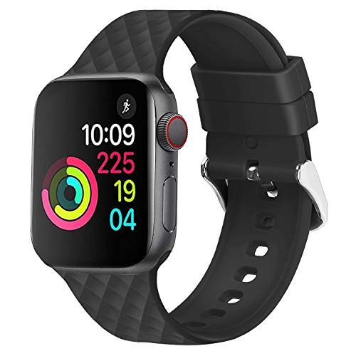 JIELIELE Compatible with 38mm 42mm Apple Watch Band Sport Silicone Replacement Wristband Women Man Strap for iWatch Series 5/4/3/2/1 (Black, 42mm)