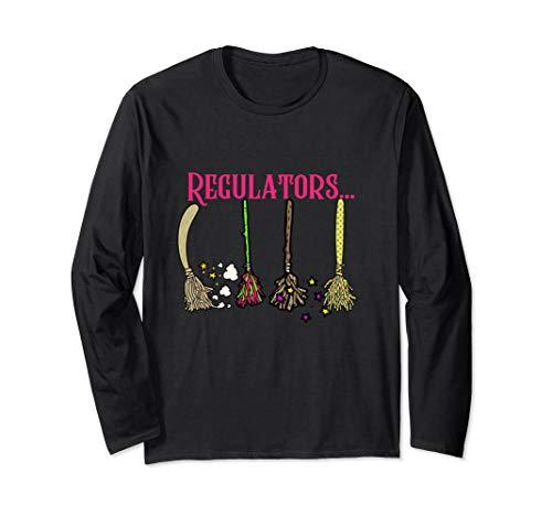 Funny Halloween Design Row of Brooms Witches Regulators Langarmshirt