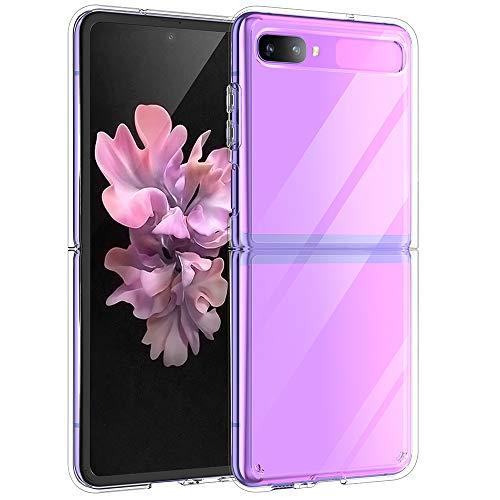 UNEVIE Kompatibel Mit Samsung Galaxy Z Flip Hülle (2020), Transparent Silikon Handyhülle Schutzhülle [Transparente Hülle + Kostenloser Displayschoner] [Verbesserte Qualität]