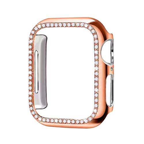 Cubierta de la caja de diamantes para la banda de reloj de Apple 5 4 3 2 1 cubierta de la caja 44 mm 40 mm 42 mm 38 mm para la banda iwatch Parachoques protector de cristal