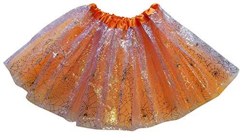 Halloween Tutu Orange Tulle Skirt with Silver Sparkle Spider Webs fits Girls, Teens, Women