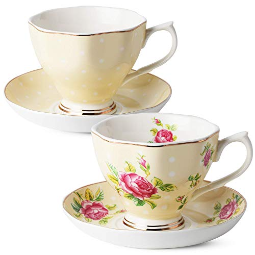 BTäT- Floral Tea Cups and Saucers, Set of 2 (Yellow - 8 oz) with Gold Trim and Gift Box, Coffee Cups, Floral Tea Cup Set, British Tea Cups, Porcelain Tea Set, Tea Sets for Women, Latte Cups
