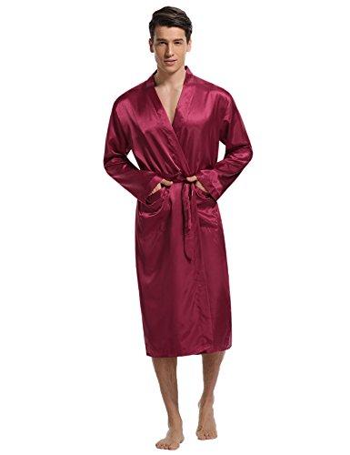 Aibrou Herren Morgenmantel Bademantel Lang Satin Nachtwäsche Kimono Sleepwear V Ausschnitt mit Gürtel Rot M