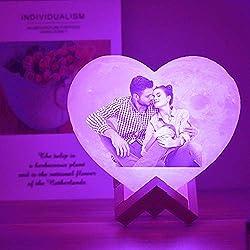 Kundenspezifische Persönlichkeit 3D-Druck Herz Mondlicht Mond USB Aufladen Nachtlampe Touch/Remote 2/16 Farben Moonlight Personalisierte Geschenke für Geburtstag Weihnachten
