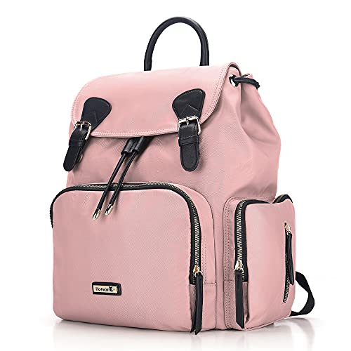 Diaper Bag Backpack, Hafmall Multifunction Stylish Baby Bag with Stroller Hooks for Boys Girls, Large Travel Maternity Nappy Bag for Mom Dad (Pink)