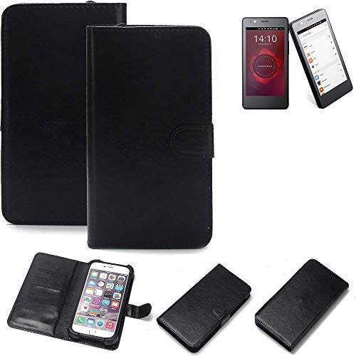 K-S-Trade 360° Wallet Case BQ Readers Aquaris E4.5 Ubuntu Edition Cover bookstyle Mobile Phone Protective Bag Bumper Pocket Sleeve Pouch flipcover flipcase Black, 1x