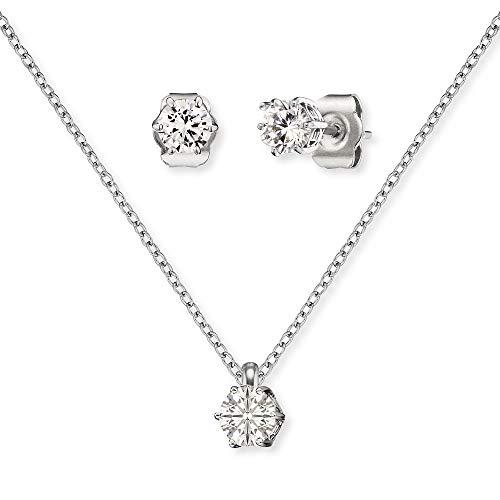 Engelsrufer Set ERMT-Shiny-ZI Halskette und Ohrstecker Sterling Silber synthetischer Zirkonia