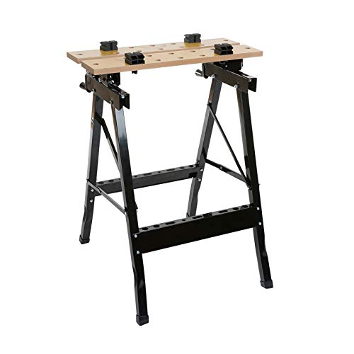 Wolf Craftsman's Folding Workbench with Hard Wearing MDF Top for Sawing, Drilling, Planing & Sanding