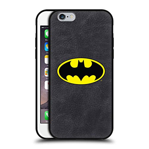 Head Case Designs Ufficiale Batman DC Comics Classico Logo Cover in Pelle Parte Posteriore Nera Compatibile con Apple iPhone 6 / iPhone 6s