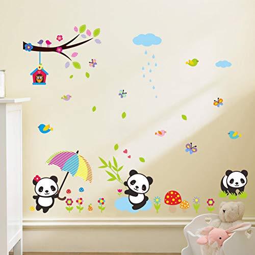 TAOYUE grote grootte heerlijk Panda eten bamboe vliegen met vogel buttlefly wolk DIY muur Stickers voor kindgarten kinderkamer Art Decals
