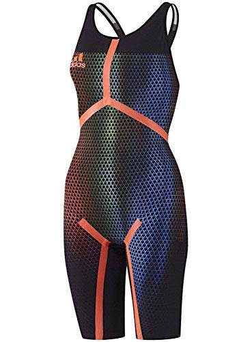 adidas Adizero XVI Freestyle Offener Rücken Tech Anzug Rennen Badeanzug Kneesuit Fina Genehmigt - Schwarz, 20UK - 24DE