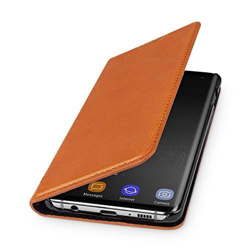 WIIUKA Echt Ledertasche - TRAVEL - Hülle für Samsung Galaxy S10+ Plus, mit Kartenfach, extra Dünn, Tasche Cognac Braun, Premium Leder, kompatibel mit Samsung Galaxy S10+ Plus