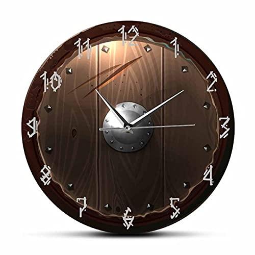 Reloj de Pared Escudo bárbaro Interior Movimiento silencioso Reloj de Pared Visión 3D Reloj de Pared Colgante Vikingo Bárbaro Hombre Medieval Cueva Decoración para el hogar