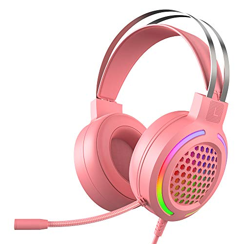 Gaming Headset (Kabelgebundene Headphones für PC, PS4, Laptop, Mac, 50mm Treiber, 7.1 Surround Sound, Ultra leicht ) Rosa Game Headphone mit Mikrofon Buntes RGB Licht, Rauschunterdrückung