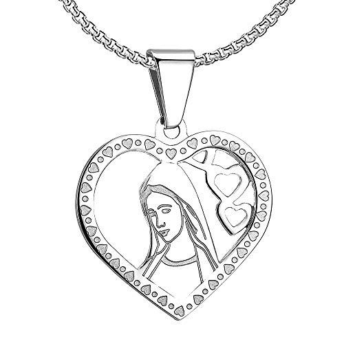 BOBIJOO Jewelry - Colgante Medalla De La Virgen María Corazón El Amor De Plata De Acero Inoxidable De La Comunión + Cadena