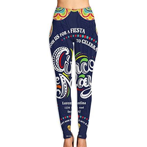 Throwpillow Pantalones Yoga para Mujer Secado rápido Deportes al Aire Libre Pantalones Entrenamiento Cintura Alta Plantilla póster Anuncio del Cinco Mayo.Texto Personalizado para invitación XL