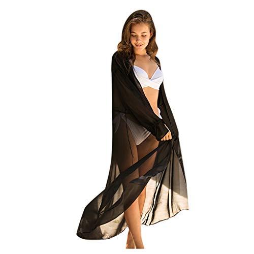 iCerber Bikinikleid Damen Sommer V-Ausschnitt Retro Spitzen Bikini Cover Up Kimono Cardigan Strandkleid Beachwear