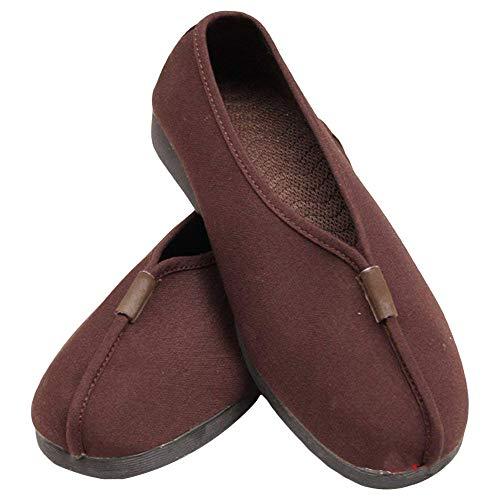 Buddhistische Schuhe Kampfsport Stoffschuhe- Buddhisten Mönche Slipper Kampfkunst Kung Fu Tai Chi Shaolin Wushu Qigong Wing Chun Sneaker Weich TPR Sohle für Männer Frauen (45 EU, Braun)