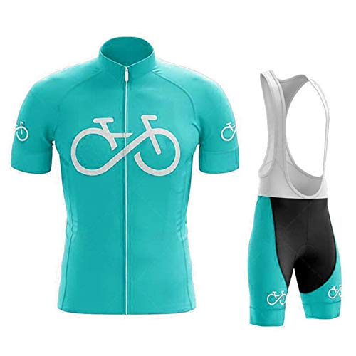 SJASD Maillots De Ciclismo Hombre Verano Mangas Cortas, Maillots De MTB Pantalones De Cortos De Correa con Cojín De Gel 19D, Ropa Correr Anti-UV,Verde,L