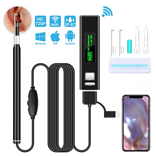 Ear Wax Removal Tool Suitable for Android /& iOS iPad Wireless Ear Endoscope Ear Scope HD Inspection Camera with 6 LED Lights Apple iPhone X//Xs//XS Max WiFi Otoscope Ear Cleaning Endoscope