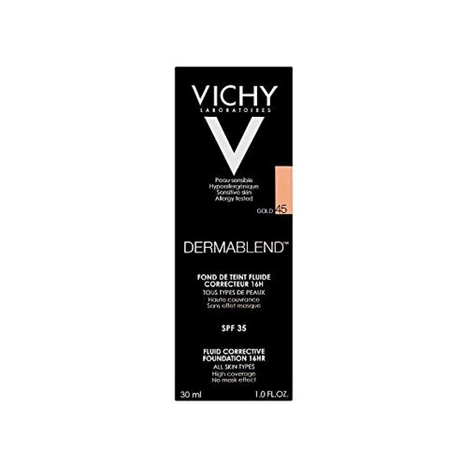 ウェーハ可能性罰ヴィシー是正流体の基礎30ミリリットル金45 x4 - Vichy Dermablend Corrective Fluid Foundation 30ml Gold 45 (Pack of 4) [並行輸入品]