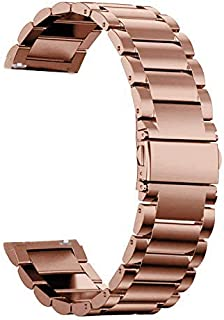 WRISTOLOGY Quick Release Adjustable Interchangeable Metal Link Stainless Steel Watch Band In Rose Gold for Men Women - 22 mm