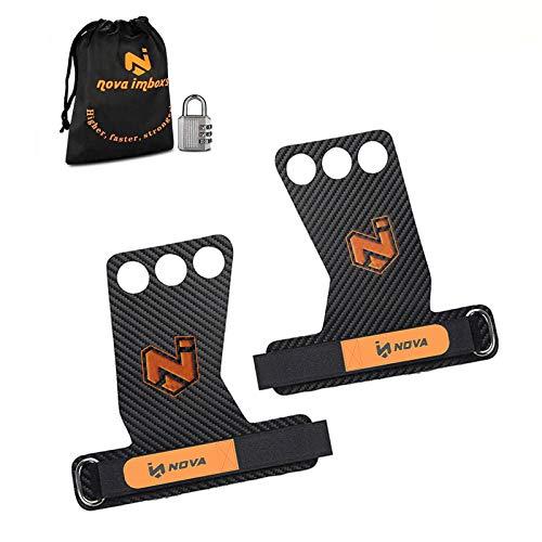 Nova imboxs Calleras para Crossfit - Grips 3H Fibra de Carbono - Guantes para Cross Training Agarre y Protector de Mano - Hombres y Mujeres en Deportes de Fitness Calistenia Halterofilia (L)