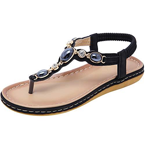 ANUFER Mujer Punta de Clip Sandalias Verano Bohemia Diamante de Imitación Talón Folk Dunlop Chancletas Elástico T-Correa Tanga Plano Zapatos Negro SN02038 EU39.5