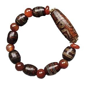 ZHIBO Tibetisches Alt-dzi-Perlen-Armband mit Achat-Chalcedon-Perlen für Herren und Damen, natürlicher Dzi-Perlen-Armreif
