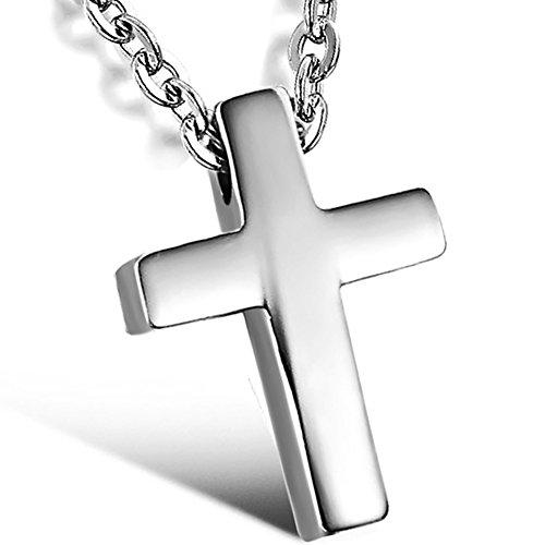 OIDEA Collana per Donna Collana in Acciaio Inox con Pendente Croce Regalo Cristo Argento