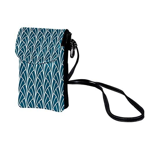 Handy Umhängetasche Damen Art Deco Kleine Tasche Frauen Brieftasche Cross-Body PU Leder Shoulder Bag mit Kartenfächer Verstellbar Abnehmbar Schultergurt 19x12x2cm