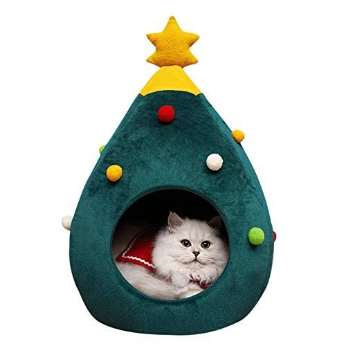 Puzzlos Nido del Letto di Gatto, Comodo Letto in Feltro Gatto in Grotta Albero di Natale a Forma di Nido Semi-Chiuso per Animali Domestici per Mantenere Caldo Il Gattino