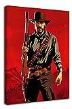 Red Dead Redemption 2 impresiones de pintura modernas de 60,96 x 91,44 cm, póster enmarcado para pared de Arthur Morgan, decoración de pared para baño, estirado y listo para colgar