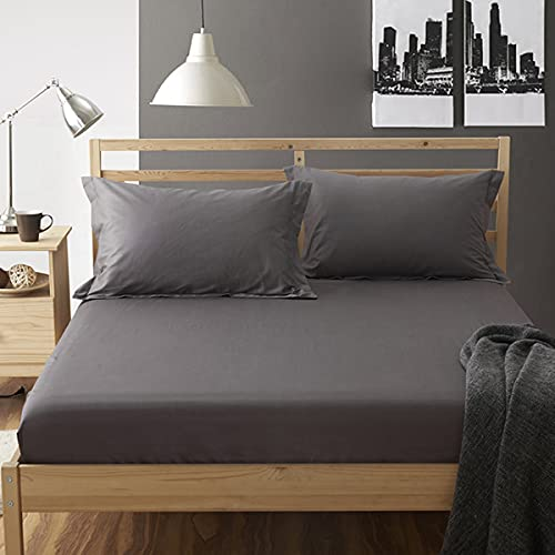 Fitted Double Bed Sheet, Soft 100% Cotton 40tc Sateen, Breathable Hypoallergenic Deep Fitted Mattress Cover for Bed, 30CM Extra Deep,Dark Gray,180 * 200cm
